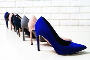 Side view of different high heels