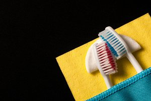 Toothbrushes under a blanket