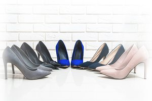 Front view of different high heels