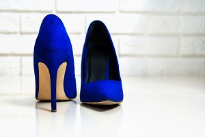 Blue high heels footwear isolated