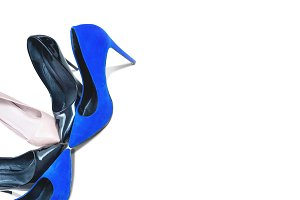 Top view of high heels footwear