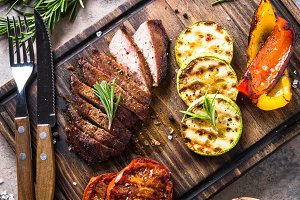 Grilled beef steak and grilled vegetables