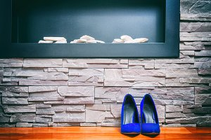 A pair of blue high heels shoes