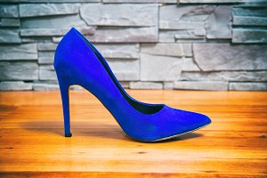 Blue high heels shoes