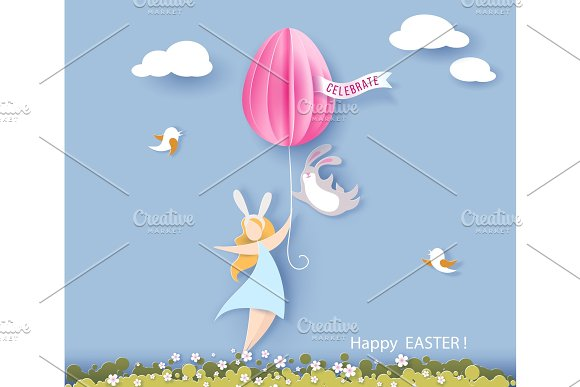 Happy Easter Card With Bunny Girl And Egg