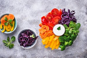 Healthy salad from rainbow vegetables