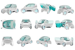 Car future futuristic set