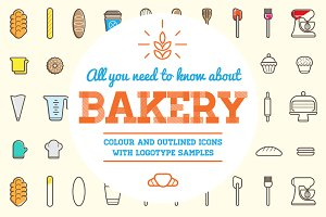 Awesome Bakery Icons and Logo Set