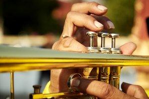 Brass vintage trumpet in gentle