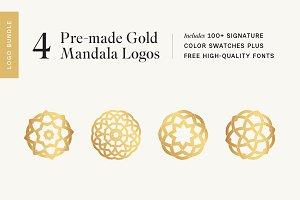 4 Premade Gold Mandala Logos