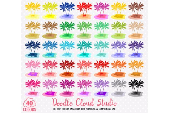 40 Colorful Tropical Island Clipart