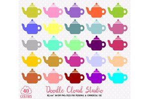 40 Colorful Teapot Clipart Rainbow