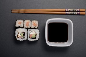 sushi on the black table