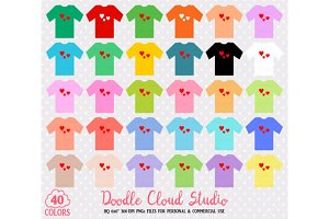 40 Colorful T-Shirt Clipart
