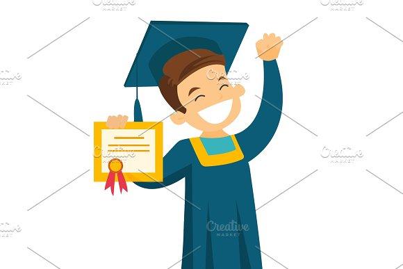 Caucasian White Graduate Showing Diploma