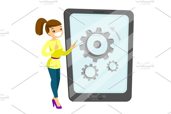 Young Caucasian White Woman Pointing At Big Tablet