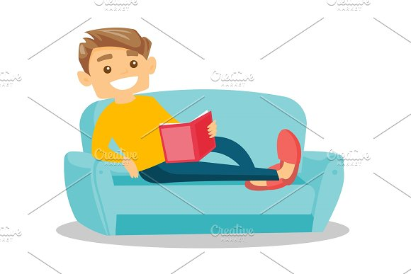 Woman Reading Book On Sofa Vector Illustration