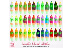 40 Colorful Surfboard Clipart Summer