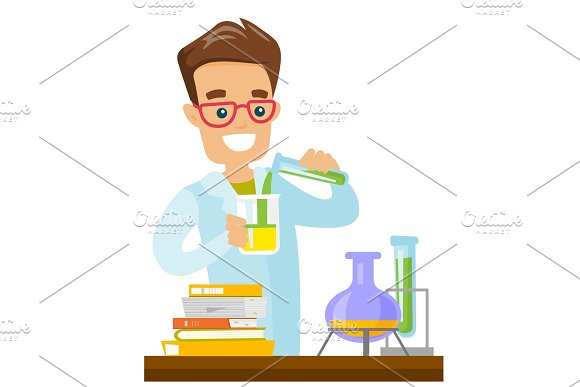 Student Conducting Experiment In Laboratory Class