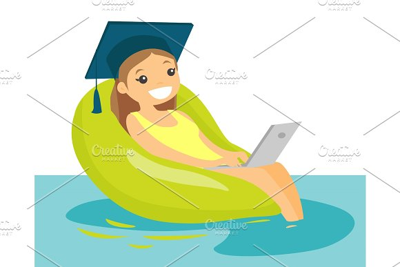Graduate Working On A Laptop In The Swimming Pool
