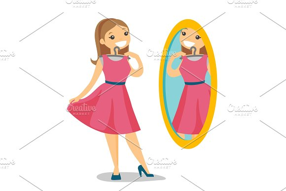 Woman Looking In The Mirror In The Dressing Room
