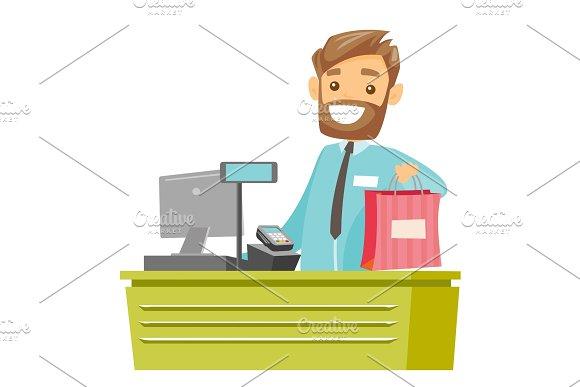 Caucasian White Cashier Handing Over Shopping Bag