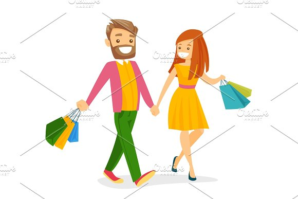 Caucasian White People Walking With Shopping Bags