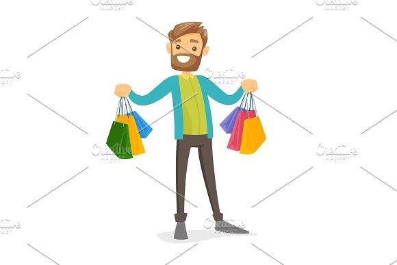 Caucasian White Consumer Holding Shopping Bags