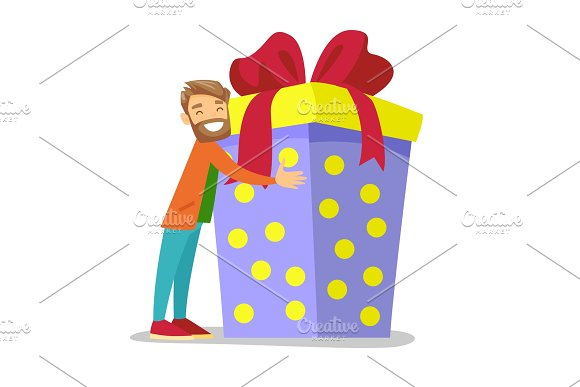 Joyful Caucasian White Man Hugging Birthday Gift