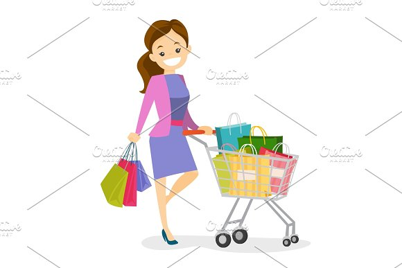 Young Caucasian White Woman With Shopping Bags