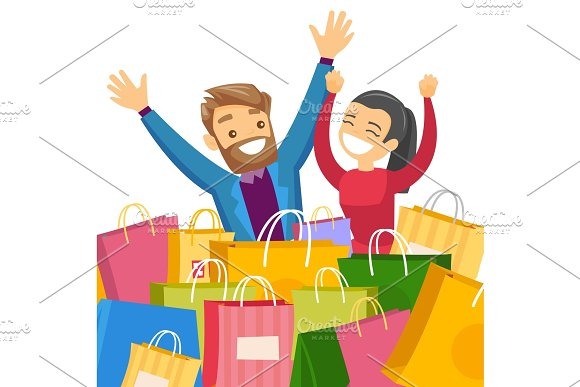 Caucasian White Couple Sitting Among Shopping Bags