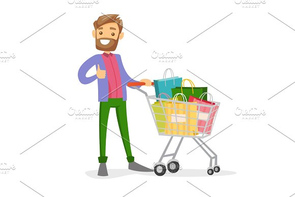 Young Caucasian White Man With Shopping Bags