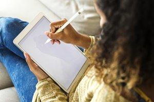 Closeup of digital tablet