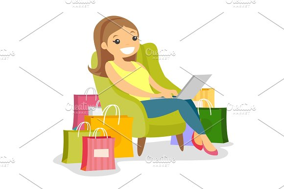 Caucasian Woman Using Laptop For Online Shopping