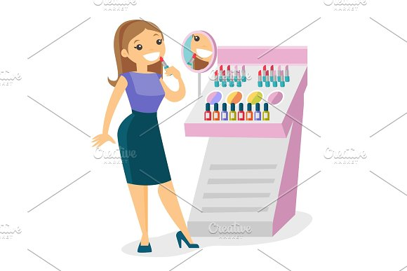 Young Caucasian White Woman Buying Lipstick