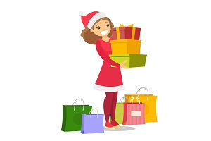 Young woman in santa hat buying christmas gifts.