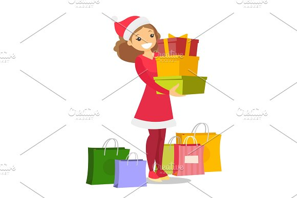 Young Woman In Santa Hat Buying Christmas Gifts