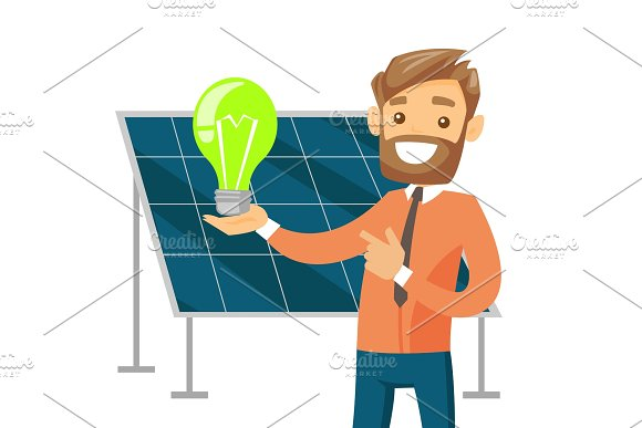 Engineer Of Solar Power Plant Holding Lightbulb