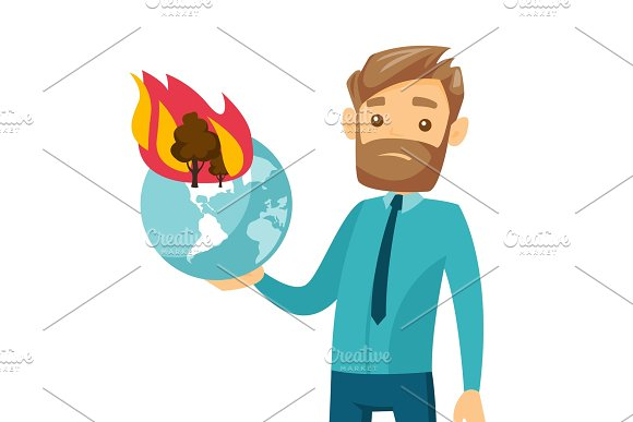 Caucasian Man Holding Globe With Forest In Fire