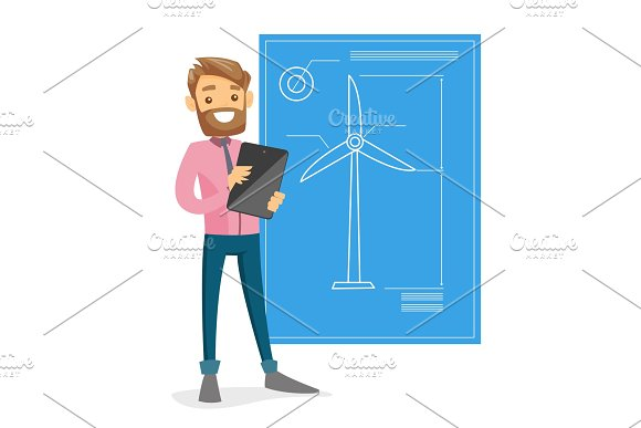 Caucasian White Engineer Projecting A Wind Turbine