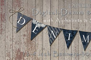 12-Digital Denim And Lace Banner/Pen