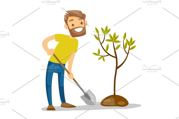 Young Caucasian White Gardener Plants A Tree