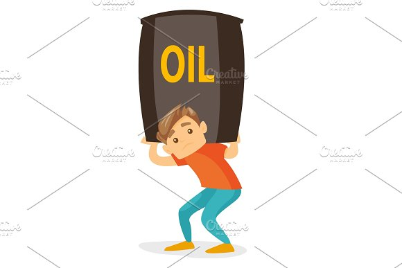 Young Caucasian White Man Carrying Oil Barrel