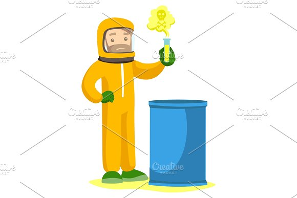 Man In Radiation Protective Suit With Test Tube