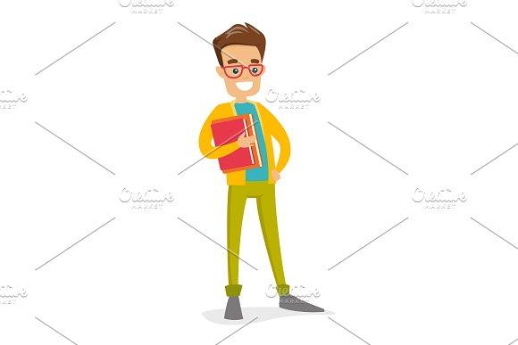 Caucasian White College Student Holding Books