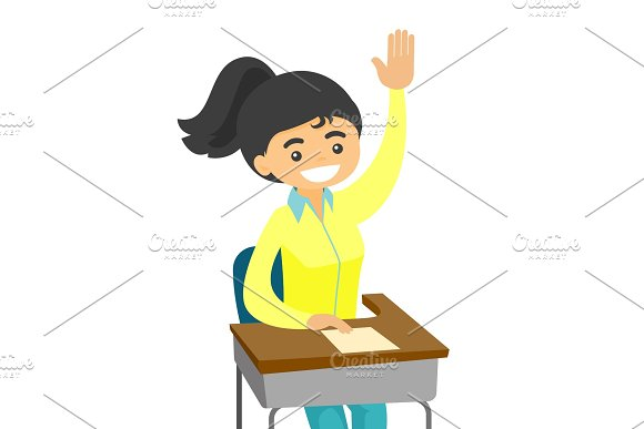 Young Student Raising Hand And Asking A Question