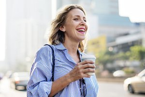 Woman take away coffee