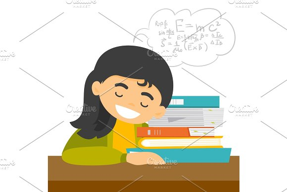 Caucasian Student Sleeping On The Desk With Books