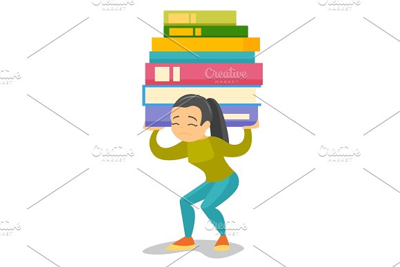 College Student Carrying A Heavy Pile Of Books