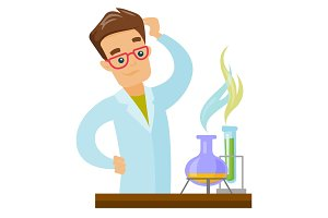 Caucasian student working in laboratory class.